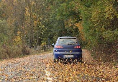 Se la ruota dell'auto finisce nella buca coperta di foglie