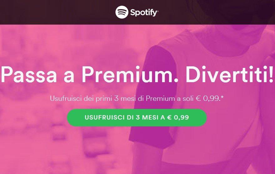 Offerta: 3 mesi di Spotify Premium a 99 centesimi