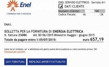 Enel: la bolletta della luce da 900 euro inviata per email