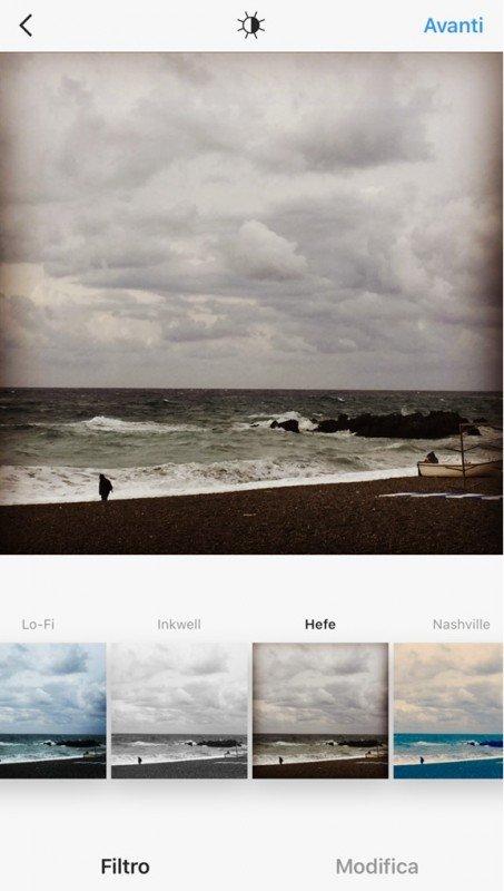 usare i filtri di Instagram senza condividere le foto