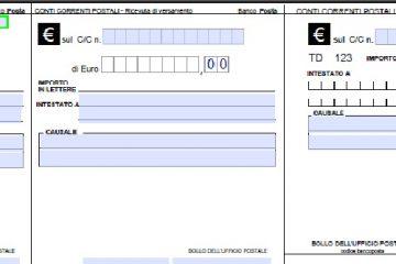 Bollettino conto corrente postale editabile